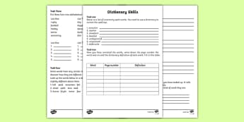 Dictionary Skills Worksheets - dictionary work, dictionary skills, dictionary challenge, word worksheets, deinfitions worksheets, spelling worksheets, ks2