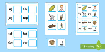 Workstation Pack:  Picture to CVC (o) Four Word Matching Activity