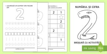 Numărul și cifra 2 Broșură cu activități - cifre, numere, numărul și cifra 2, matematică și explorarea mediului, clasa pregătitoare, broș