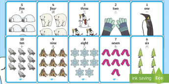 Winter Themed Number with Words & Numbers (1 - 10) Display Posters English/Mandarin Chinese - numbers, numbers to 10, number names, Winter, numeracy, counting, number poster, EAL