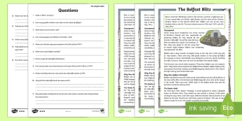 The Belfast Blitz Differentiated Reading Comprehension Activity  - World Around Us KS2 - Northern Ireland, Belfast, Blitz, Second World War, WW2, WAU, World Around Us,
