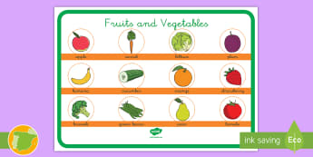 Póster DIN A4: Frutas y verduras - Inglés - fruit, vegetables, lengua extranjera, english, inglés, comida, ,Spanish-translation