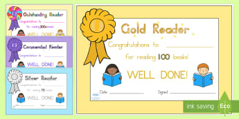 Editable Book Reading Certificates - reading, certificate, books