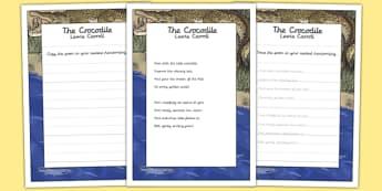 The Crocodile KS2 Handwriting Practice - ks2, handwriting, practice, crocodile