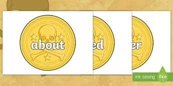 F-2 Keywords on Pirate Coins - Australian Curriculum, Australia, History, Convicts, Pirates, F-2, Keywords, Pirate Coins, High Freq