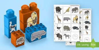Safari Animals Matching Connecting Bricks Game - EYFS, Early Years, KS1, animals, living things, on safari, Africa, lion, zebra, elephant, leopard, r