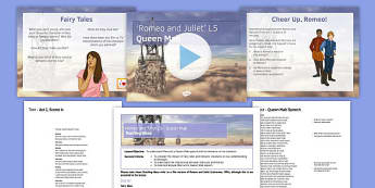 Romeo and Juliet Lesson Pack 5: Queen Mab - Romeo and Juliet, Mercutio, Benvolio, Romeo, Queen Mab, Capulet, feast, masked ball
