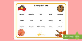 Aboriginal Art Junior Word Mat - Aboriginal art, Indigenous art, aboriginal history, australian history, australian art,Australia