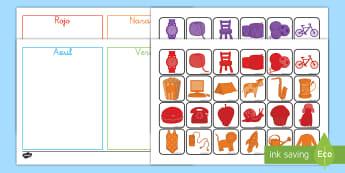 Ficha de actividad: Emparejar los colores - actividad de emparejar colores, colores, color, emparejar, empareja, unir, une, azul, verde, amarill