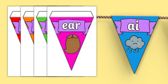 Phase 3 Display Bunting - phase 3 bunting, letters and sounds bunting, phase 3 letters and sounds bunting, sounds bunting, letters bunting, phonics