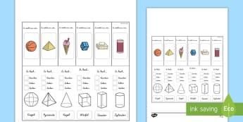 Eigenschaften von 3D-Formen Lernhilfe Arbeitsblatt - Mathe, Formen, Körper, Seiten, Ecken, Kanten, ,German