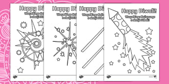 Diwali Fireworks Colouring Pages Polish/English