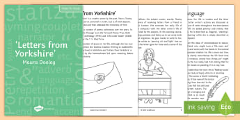 'Letters from Yorkshire' by Maura Dooley Notes for Study  - notes for study, poetry revision, Letters from Yorkshire, Maura Dooley, exam prep, exam revision, ho