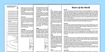 Rivers Of The World Comprehension Activity Sheets English/Polish - Rivers of the World Reading Comprehension Activity - river, countries, comprehesion, comprehnsion, c