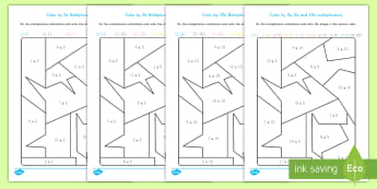 Color By 2s, 5s and 10s Multiplication Activity - color by numbers, coloring, art, math, multiplication