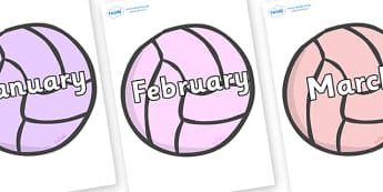 Months of the Year on Balls - Months of the Year, Months poster, Months display, display, poster, frieze, Months, month, January, February, March, April, May, June, July, August, September