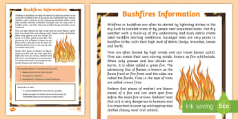 Bushfire Fact File - Australia Curriculum HASS The impact of bushfires or floods on environments and communities, ACHASSK