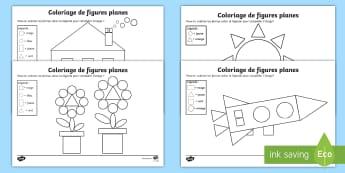Coloriage magique des figures planes - KS1, cycle 2, cycle 3, cycle 1, maths, mathématiques, figures planes, formes, rectangle, cercle, ca