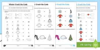 Winter Themed Crack the Code Activity Sheet