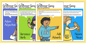 Grammar Gang Character Display Posters Romanian Translation - romania, eal, grammar, spag, characters, english, literacy, spag, poster, words, verbs, adverbs, nouns, adjectives