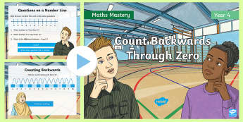 Year 4 Count Backwards Through Zero Place Value Maths Mastery PowerPoint - Reasoning, Greater Depth, Abstract, Modelling, Representation, Problem Solving, Explanation, Negativ