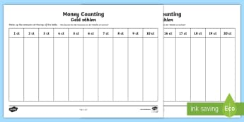 Euros Counting and Sorting Activity Sheet English/German - money, europe, european union, currency, EAL, German, English-German,,Spanish-translation
