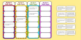 2014 Curriculum Year 4 Maths Target Bookmarks - numeracy, ks2