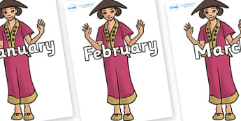 Months of the Year on Lila - Months of the Year, Months poster, Months display, display, poster, frieze, Months, month, January, February, March, April, May, June, July, August, September