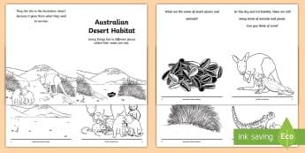 Australian Desert Habitat Booklet - science story, ACSSU211, Year 1 science, animal needs, plant needs,Australia