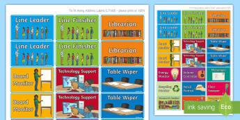Classroom Jobs Display Labels - ROI Back to School Resources, classroom management, behaviour management,  classroom jobs, chores, l