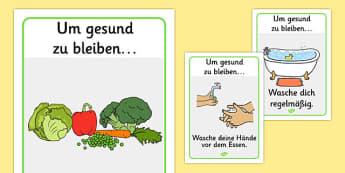 Um gesund zu bleiben Health and Hygiene Display Posters German - german, Good health, hygiene, behaviour management, eat fruit, walk to school, vegetables, exercise, brush teeth, wash hands, drink water