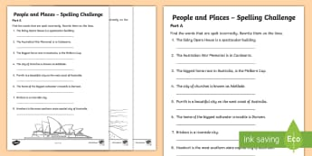 People and Places - Australian Places Spelling Challenge Activity - People and Places, Spelling, Geography, English, Literacy, spell, misspelt, quiz, australian cities,