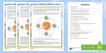 Summer Solstice CfE First Level Differentiated Reading Comprehension Activity - Summer Solstice, sun, midsummer, northern hemisphere, daylight, orbit, seasons, Stonehenge