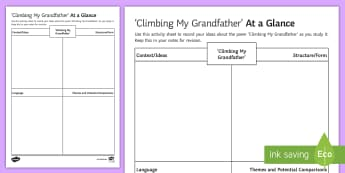 At a Glance - 'Climbing My Grandfather' Activity Sheet - andrew waterhouse, AQA worksheet anthology, Love relationships, language analysis, GCSE poetry revis