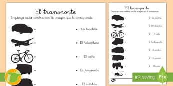 Ficha de emparejar sombras: El transporte - transporte, coche, camión, avión, globo aerostático, autobús, moto, motocicleta, vía, carretera
