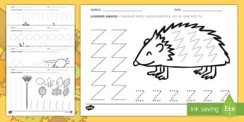 Toamna Fișă Elemente grafice - început de an școlar, anotimp, activități integrate, scriere preșcolari, controlul creionului,R