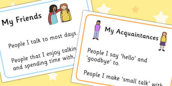 My Friends And Acquaintances Visual Support - visual aid, SEN