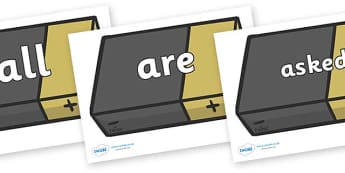 Tricky Words on Battery - Tricky words, DfES Letters and Sounds, Letters and sounds, display, words