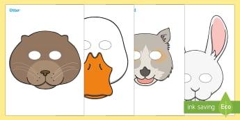 British Wildlife Role Play Masks - role play mask, role play, British wildlife, woodland creatures, woodland animals, squirrel, hadgehog, badger, fox,