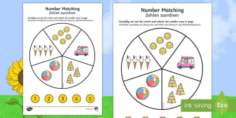 Number Matching Pegs Summer Themed Activity English/German - summertime, wheel, EAL, translation, numeracy 1-5