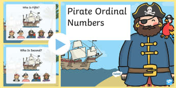 Pirate-Themed Ordinal Numbers PowerPoint - pirates, numeracy, order, sequence, 1st, 2nd, first, second, line, queue,Welsh