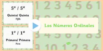 Presentación - Números ordinales - primero, segundo