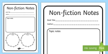 Non Fiction Reading Notes Writing Template - non ficiton, reading, reading notes, notes on reading, non fiction reading, literacy, english, books, writing, note writing