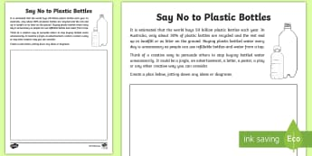 3-6 Say No To Plastic Bottles Activity Sheet - worksheet, sustainability, recycle, reduce, reuse, refuse, environment,Australia