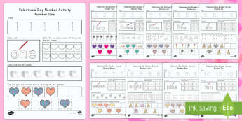 Valentine's Day Math Numbers 1-10  Resource Pack - Valentine's Day