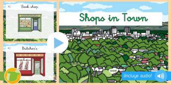 Presentación con audio: Las tiendas de la ciudad - Inglés  - shops, town, lengua extranjera, inglés, english, audio, ,Spanish-translation