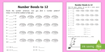 Number Bonds Within 20: Bonds to 12 Activity Sheet - NI, KS1, Numeracy, number bonds within 20, addition, mental maths, homework, home learning, workshee