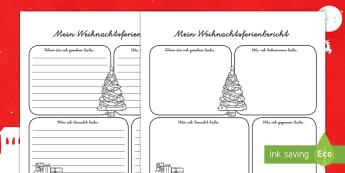 Mein Weihnachtsferienbericht Arbeitsblätter - Weihnachten, Weihnachtsferien, bericht, bericht schreiben, schreiben, lesen, winter, winterferien,Ge