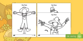 Harvest Scarecrow Themed Blank Faces Template Activity