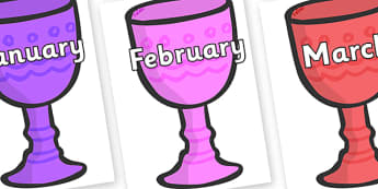 Months of the Year on Goblets - Months of the Year, Months poster, Months display, display, poster, frieze, Months, month, January, February, March, April, May, June, July, August, September